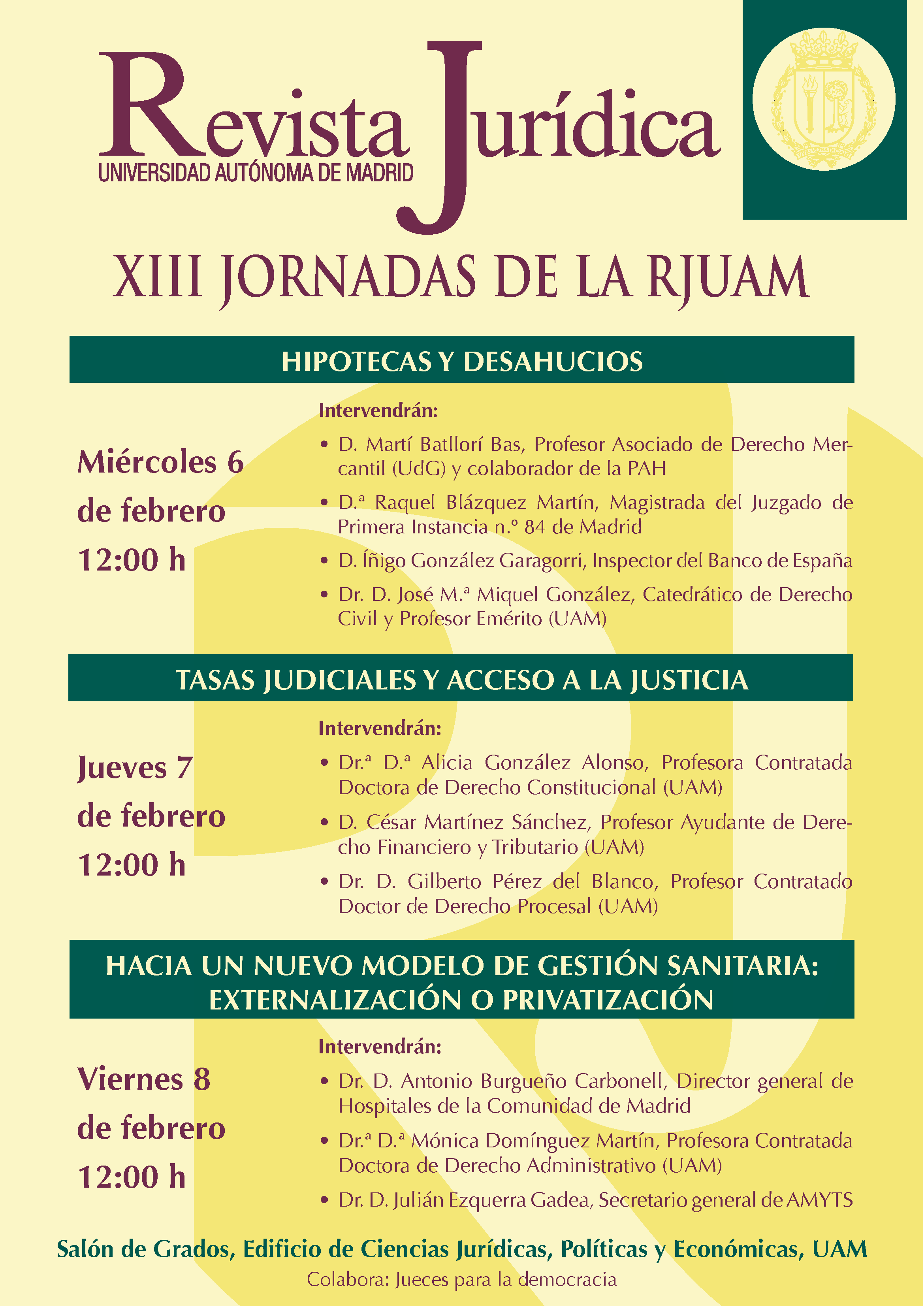 CARTEL XIII JORNADAS RJUAM