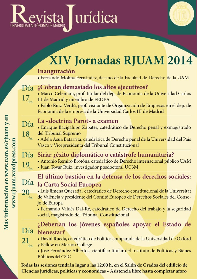 Cartel XIV Jornadas rjuam