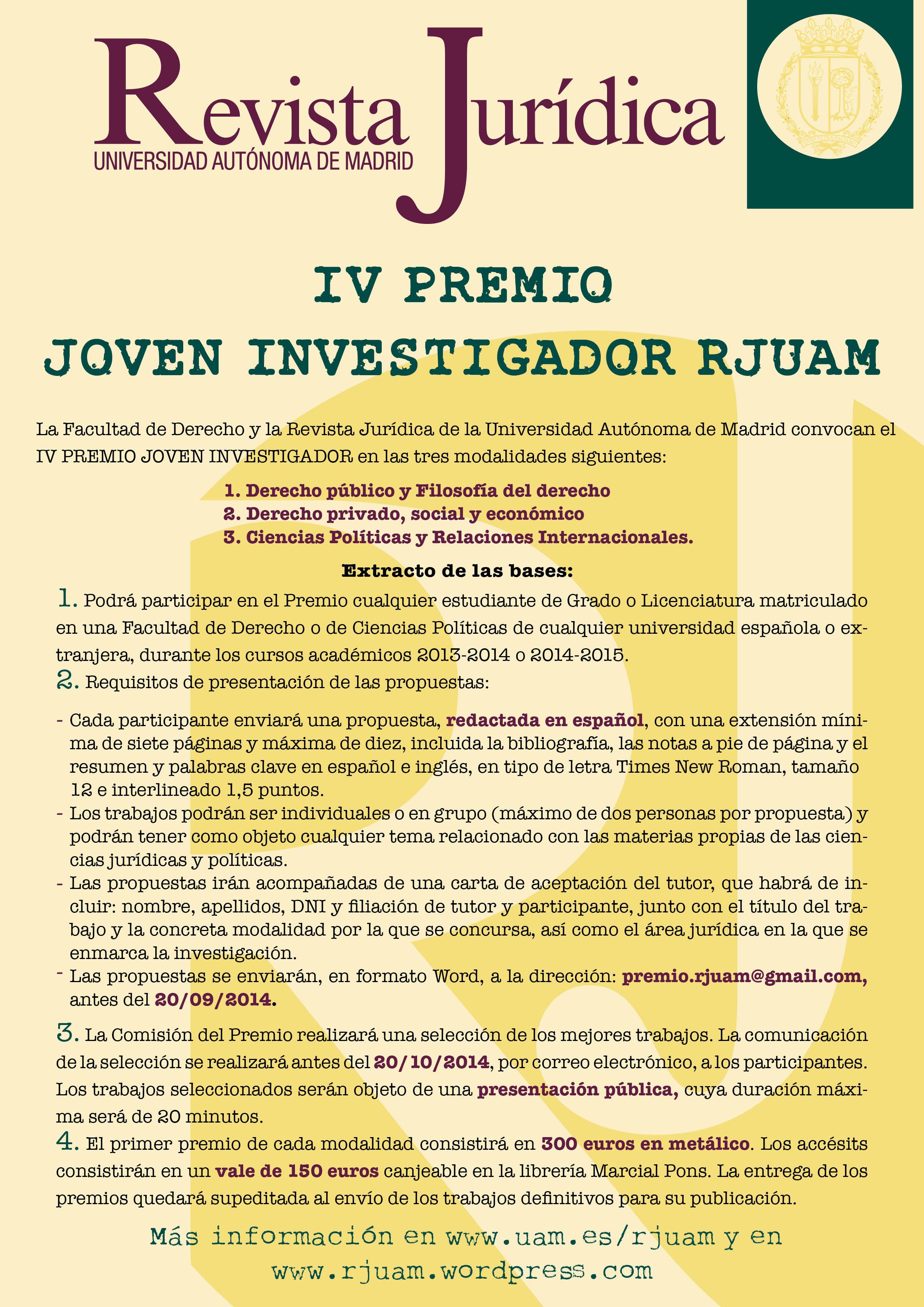 Cartel Premio Joven Investigador RJUAM 2014-3