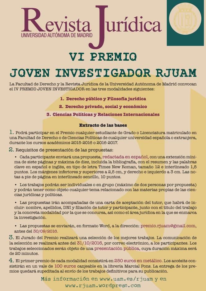 Cartel Premio Joven investigador VI_2016